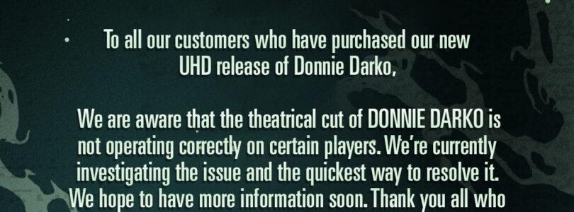 Arrow's Donnie Darko 4K Frame Rate Issue
