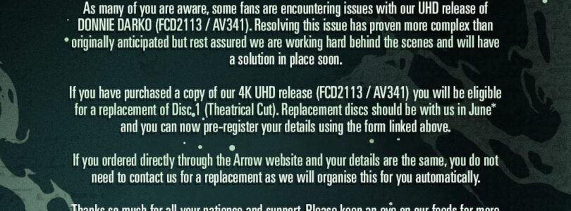 Arrow's Donnie Darko 4K UHD Replacement Program